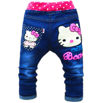 2-5years Cute Cartoon Pattern Kids Jeans Autumn Lovely Cat High Quality Children Pants Casual trouses hello kitty girls jeans