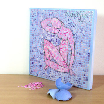 Birthday Mosaic Gift Wall Art Home Decor Collage Painting Contemporary Art Matisse Blue Nude Pink EggShell Mosaic Mini Gift Ideas for Him