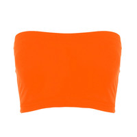 Seamless Crop Tube Top Neon Orange