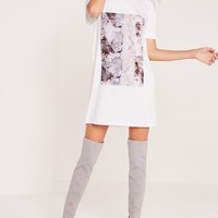 Missguided - Marble T-Shirt Dress White