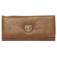 Heart Turn Lock Wallet - WetSeal