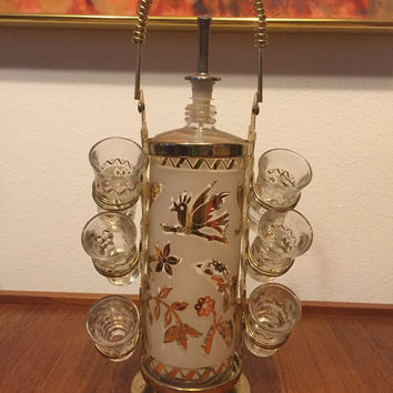 Vintage Modern Bar Decanter Set with 6 shot glasses with Gold Gilt leaves motif