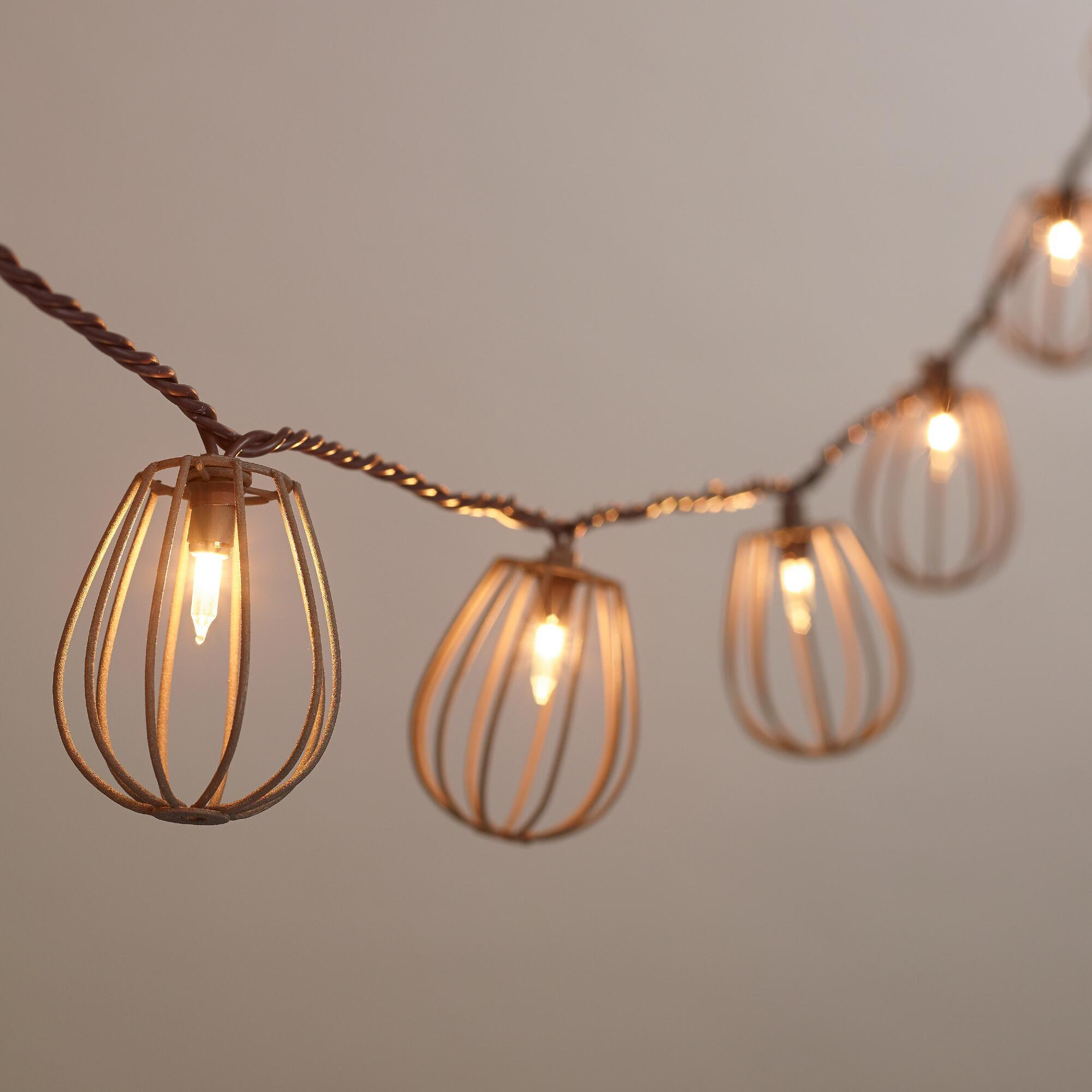 Rustic Wire Cage 10-Bulb String Lights from Cost Plus World