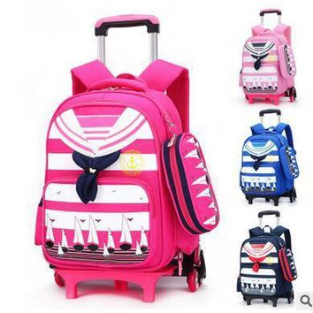 Brand Kids Rolling Backpacks For School Children's Trolley bag  On wheels School Boy's Girls Trolley Suitcase Kids luggage Bags