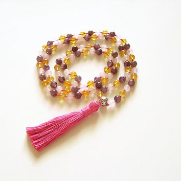 Japa mala prayer bead necklace, Tassel mala hindu necklace, Amethyst mala rose quartz mala citrine mala, 108 mala necklace gemstone mala