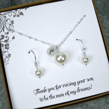 Mother of the Groom Gift from Bride, Mother of the Bride Gift Jewelry, Wedding Gifts for Mother, Sterling Silver, Initial, Pearl Jewelry