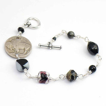 Black buffalo nickel bracelet, US coin assorted beads, wirewrapped silver, 8 inches
