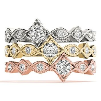 Stackables 1/2 Eternity Tri-Tone Gold Milgrain Infinity Square 3-Band Set Selectables