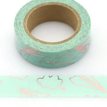 Aqua green metallic rose gold paper plane 15mm washi tape / 10M