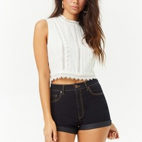 Eyelet Mock-Neck Top