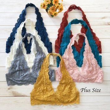 PLUS Size Scalloped Halter Lace Bralette - More colors, plus size lacy bra crop top XL XXL, halter neck bralettesPLUS Size Scalloped Halter Lace Bralette - More colors, plus size lacy bra crop top XL XXL, halter neck bralettes