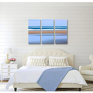3 Three Panel Canvas Gallery Wrap Triptych Beach Decor Large Wall Art Abstract Nautical Navy Blue Beige Living Room Coastal Photography