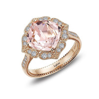 Lafonn Simulated Morganite Rose Gold Plated Sterling Silver and Simulated Diamond Ring