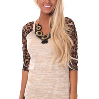 Cream Baseball Tee with Lace Leopard Print Sleeves