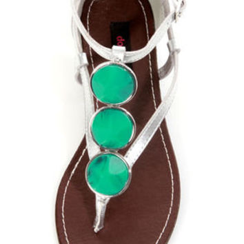Dollhouse Island Silver and Turquoise Embellished Thong Sandals
