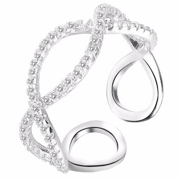 BELLA Fashion Simple Style 925 Sterling Silver Bridal Ring Infinity Open Ring For Women Wedding Accessories Party Jewelry