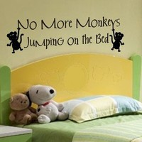 wall quote decal no more monkeys jumping on the bed kids room wall de | vinylgraffiti - Housewares on ArtFire