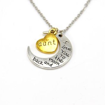 hand stamped i love you to the moon and back charm necklace silver gold aunt gift box  number 1