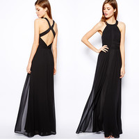 Black Halter Neck Criss Cross Back Sleeveless Pleated Maxi Dress