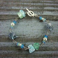 Faux Sea Glass Blue and Green Wire Wrapped Silver Bracelet Whimsical Fantasy Jewelry