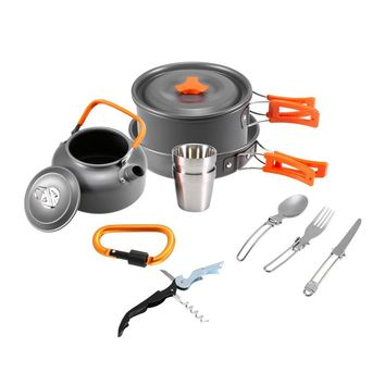 10 Piece Backpacking Cookware and Tableware Kit