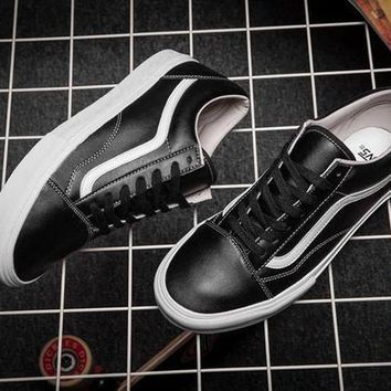 Vans Old Skool Leather Flats Sneakers Sport Shoes