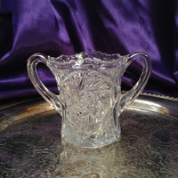 EAPG Spooner, Double Handled Clear Pressed Glass, Hobstar Design, Charming Collectible or Dining Accessory