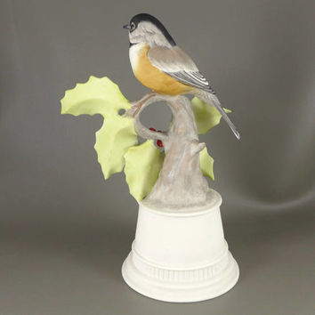 Boehm Porcelain Bird Figurine, Vintage Edward Marshall Boehm Black Capped Chickadee Porcelain Sculpture, Number 438