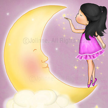 Artwork Nursery art prints kids wall art children wall art baby nursery decor moon and stars purple
