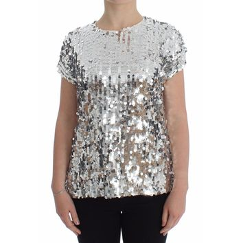 Dolce & Gabbana Silver Sequined Crewneck Blouse T-shirt Top