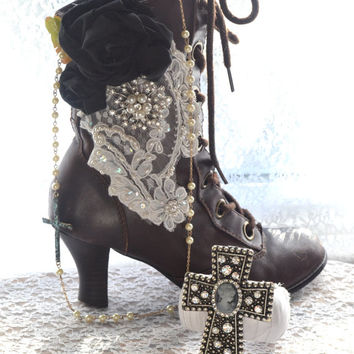 Gypsy boots, Boho chic embellished granny boots, Lace up boots, Bohemian gypsy vintage shoes, Romantic heels , Vagabond, True rebel clothing