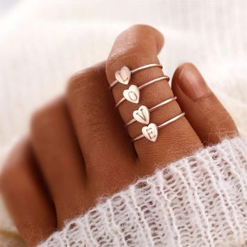 OL Style New Heart Shape A-Z Letter Rings for Women Gold Color Personalized Ring Finger Female Fashion Jewelry Drop Shipping