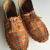 Vintage Huarache Moccasins/slip on/ leather/stamped/braided/woven/sz 7/unique/rebellespdx/huaraches