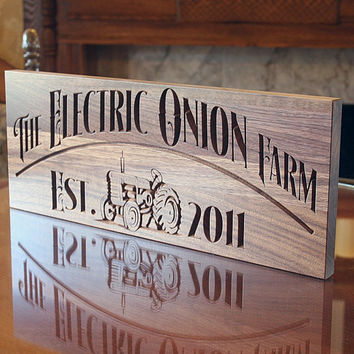 Personalized Farm Sign, Carved Wooden Sign, Custom Farm Sign, Personalized Ranch Sign, Benchmark Custom Signs Walnut JF
