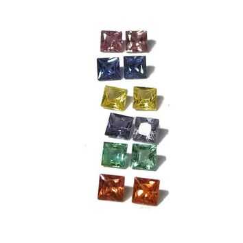 Stud Earrings Rainbow Color Stones Princess cut Multi color Blue Orange Pink Purple Yellow Sapphire Green Emerald 3.6 mm Matching pairs