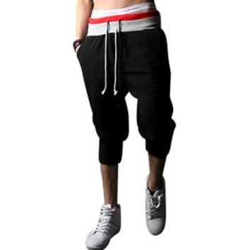 jeansian Men's Sport Jogger DrawString Baggy Cropped Pants Trousers Sweatpants S300