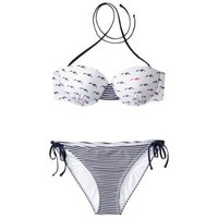 Xhilaration® Juniors 2-Piece Bikini Swimsuit in Bird Print -Navy/White