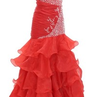 Dressystar Long Stunning Beaded Mermaid Prom Party Ball Gowns Ruffled Skirt