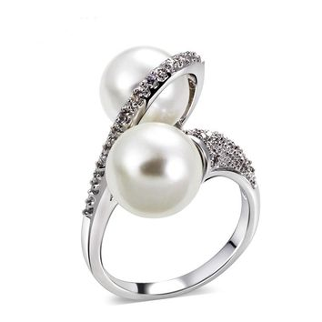 Shell pearl micro inlaid zircon ring simple personality fashion ring
