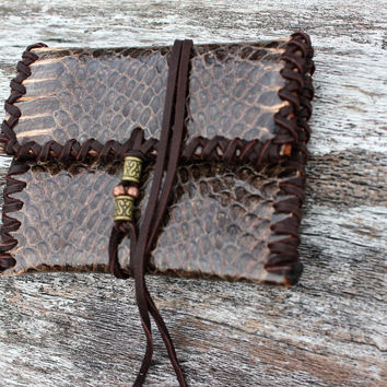 Single Pocket Wallet, Boa Snake Skin and New Zealand Deer Leather, Hand Cut and Stitched, Wrap Around Closure