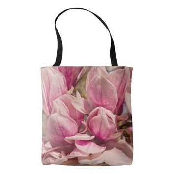 Pink Magnolia Flowers All Over Print Tote Bag