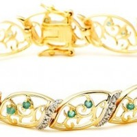 18k Yellow Gold-Plated Sterling Silver Emerald Bracelet, 7.5""