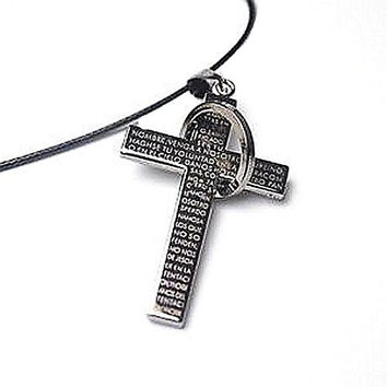 Basket Hill Watches And Gifts Women's Black Cross W/ Bible Verse Leather Cord Necklace