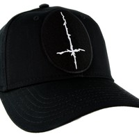White Inverted Cross Hat Baseball Cap Occult Black Metal