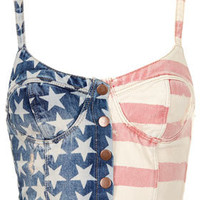 MOTO Flag Print Denim Bralet - New In This Week  - New In