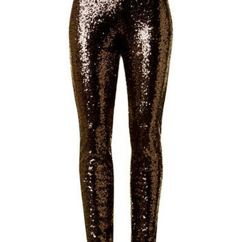 Sequin Leggings, Bronze
