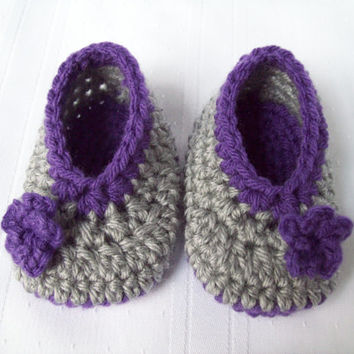 Crochet Ballet Flats with flower, Crochet Purple and Grey Baby Slippers, 6 months size