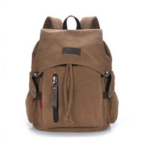 Large Capacity Travel Durable Canvas Backpacks Male Female Daily Zipper Hasp Shoulder Bags Travel Casual Fringe Packsack CC89