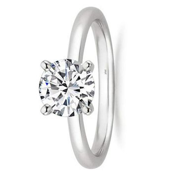 1/2 - 2 Carat GIA Certified Platinum Solitaire Round Cut Diamond Engagement Ring (G-H Color, VS1-VS2 Clarity)