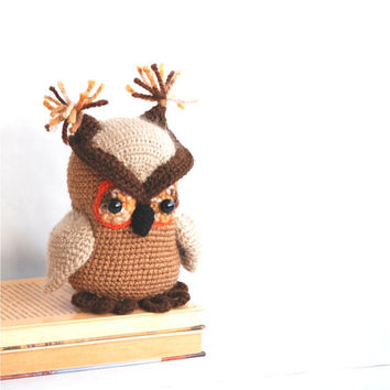 amigurumi owl, crocheted stuffed toy, animal doll, cuddly and cutie bird, gift for children and adults, brown and orange unique